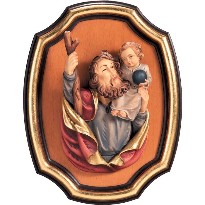 St. Christopher half length portrait with frame