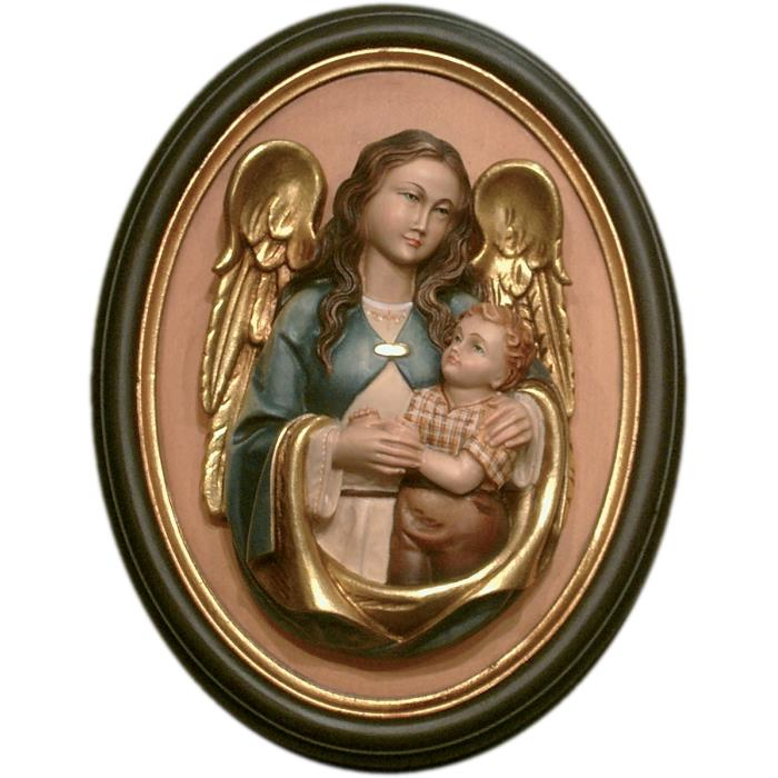 Guardian angel half length portrait with frame