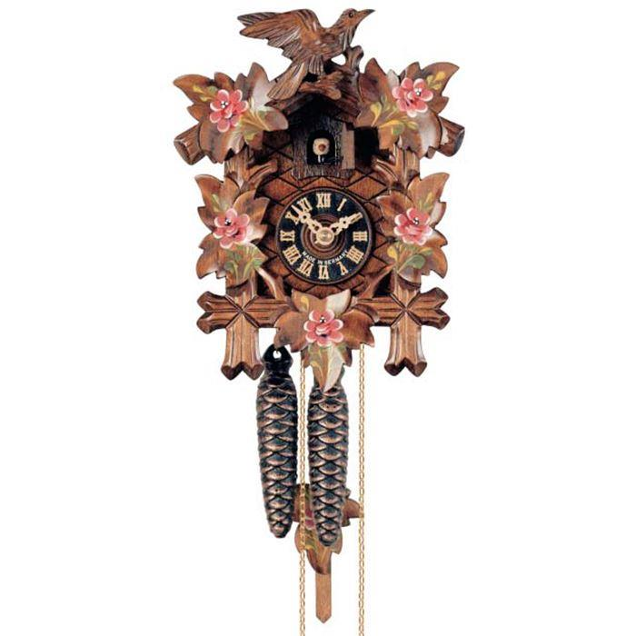 Cuckoo clock with bird and roses