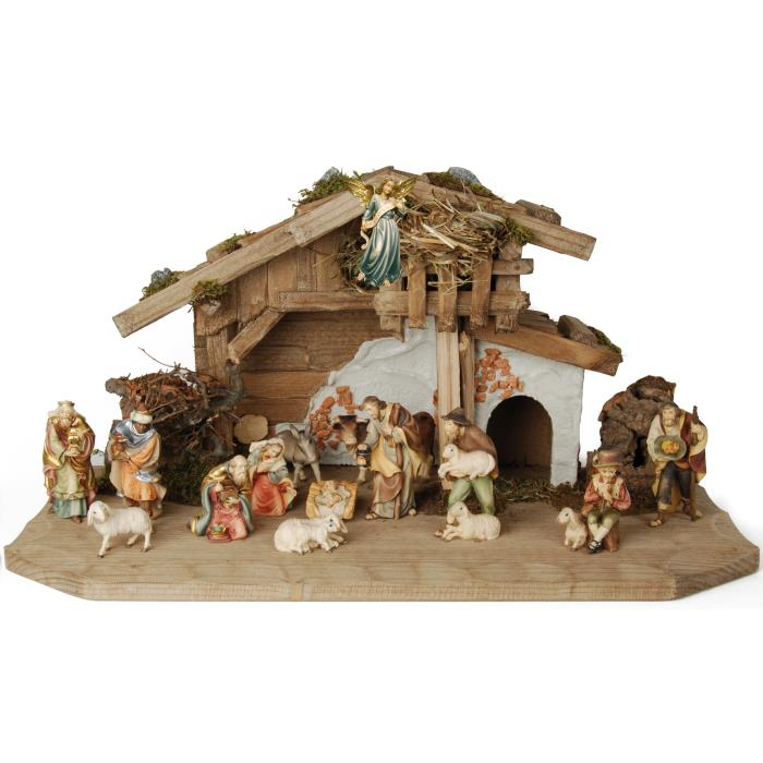 Peace Nativity scene set with 14 figures and shed