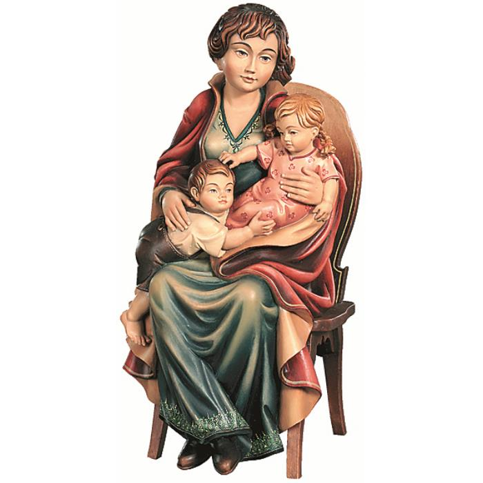 Mother with 2 children on chair