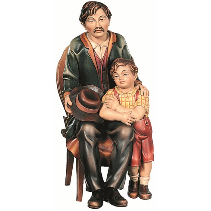 Father with boy on chair