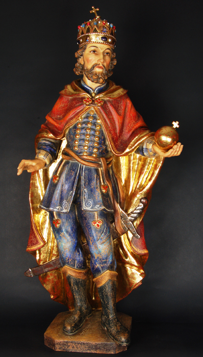 St. Stephen of Hungary painted sculpture