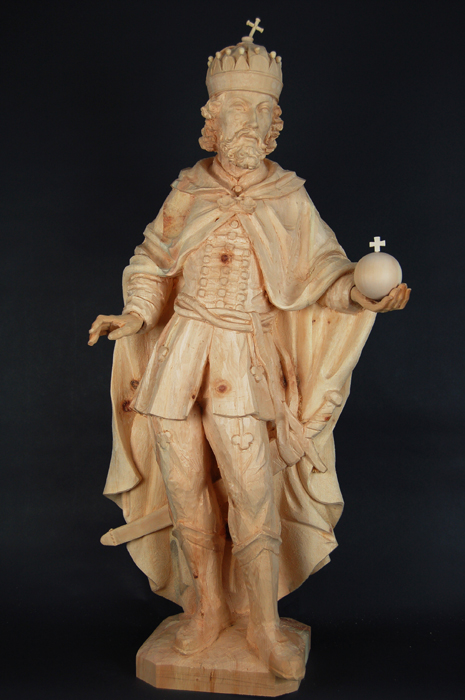 St. Stephen of Hungary rough wood statue