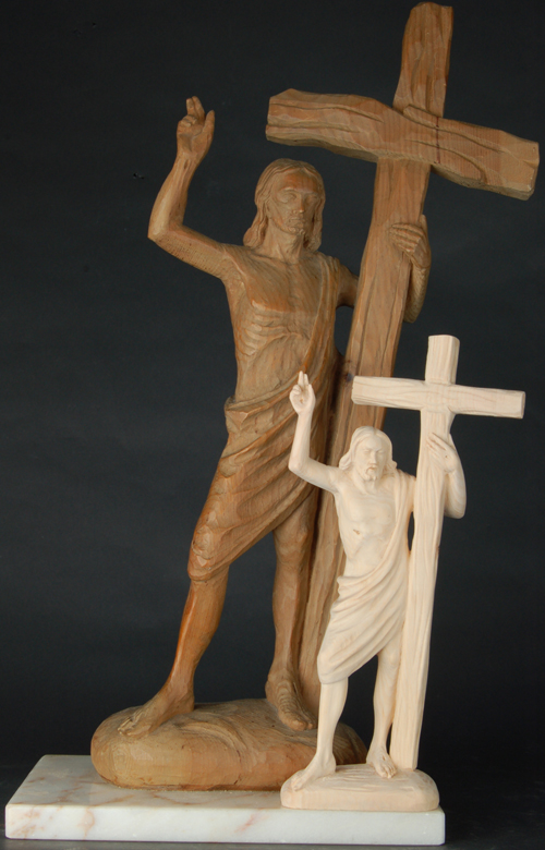 Christ resurrected with cross Original and copy