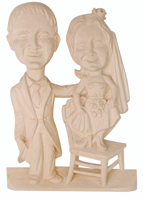 Caricature of a bridal couple Bas-relief of a caricature