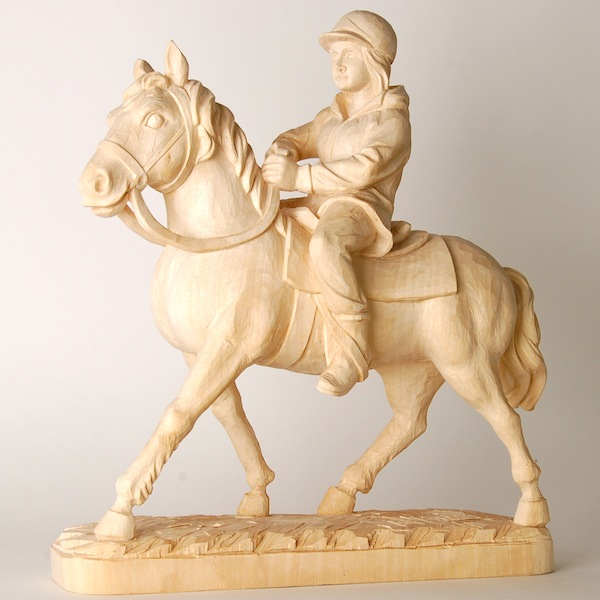 Horse-riding woman Wooden sculpture made by DEMI ART of a girl riding her horse
