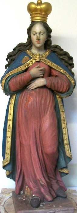 Renovated Statue of Holy Mary Madonna from the 1950ies