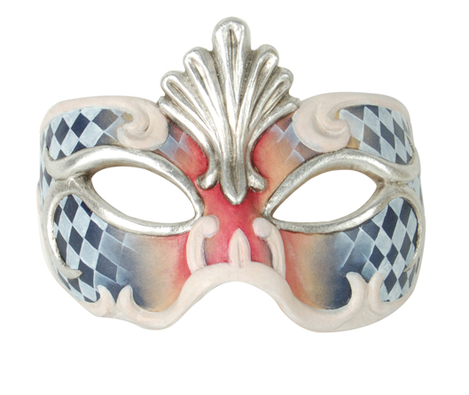 Demi Art: wooden venetian masks for Carnival Wooden venetian mask in red<br>and blue with decorations in silver and white