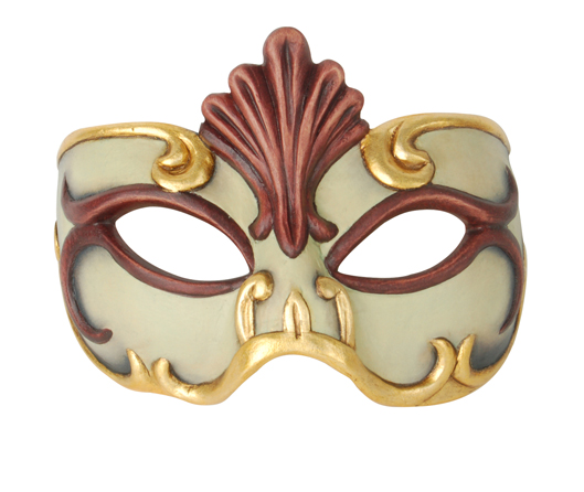 Demi Art: wooden venetian masks for Carnival Wooden venetian mask in red and white with golden decoration