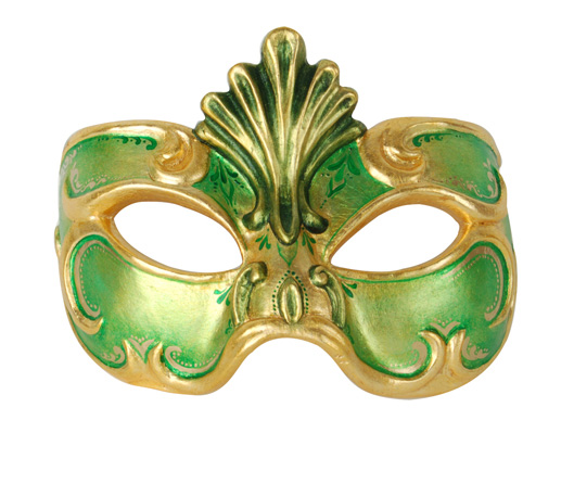 Demi Art: wooden venetian masks for Carnival Wooden venetian mask in green with golden decorations