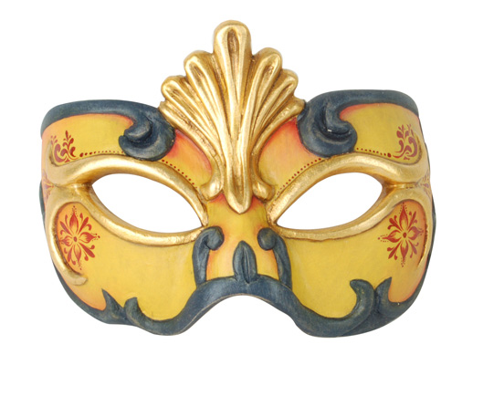 Demi Art: wooden venetian masks for Carnival Wooden venetian mask in yellow and black with golden and red decorations