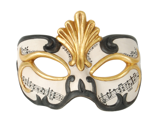 Demi Art: wooden venetian masks for Carnival Wooden venetian mask in white and black with golden decoration