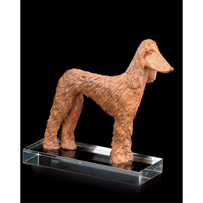 Afghan greyhound (w.pedestal in plexi)