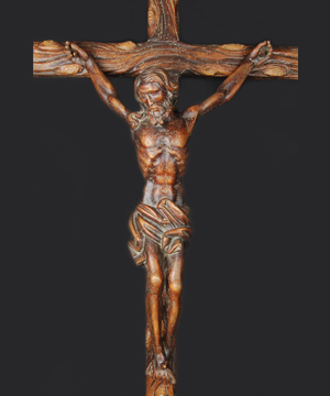 crucified Christ wood carving for procession
