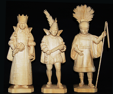 wood carvings of Carnival figures: realized