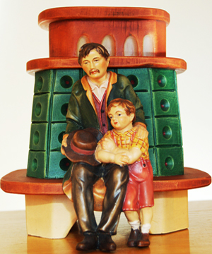 wooden coloured stove sculpture: realized