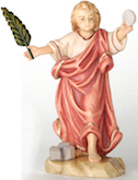 Wooden sculpture of maple wood representing St. Tarcisius with palm leaf, stones and host