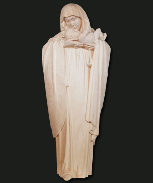 escultura de madera coloreada de la Virgen